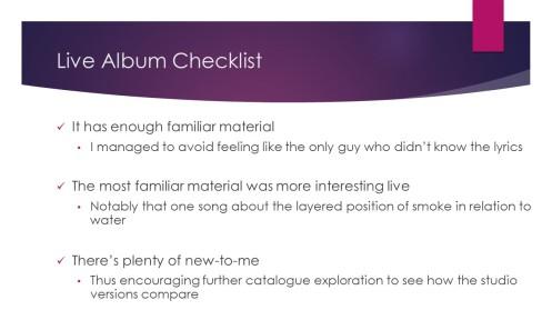 Live Album Checklist